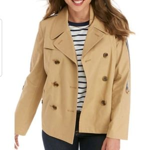 crown & ivy Cropped Trench Coat Roll Tab Pleated